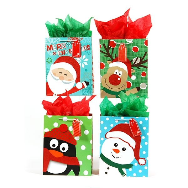 Christmas Gift Bags.Flomo Large Fun Faces Glitter Christmas Gift Bags