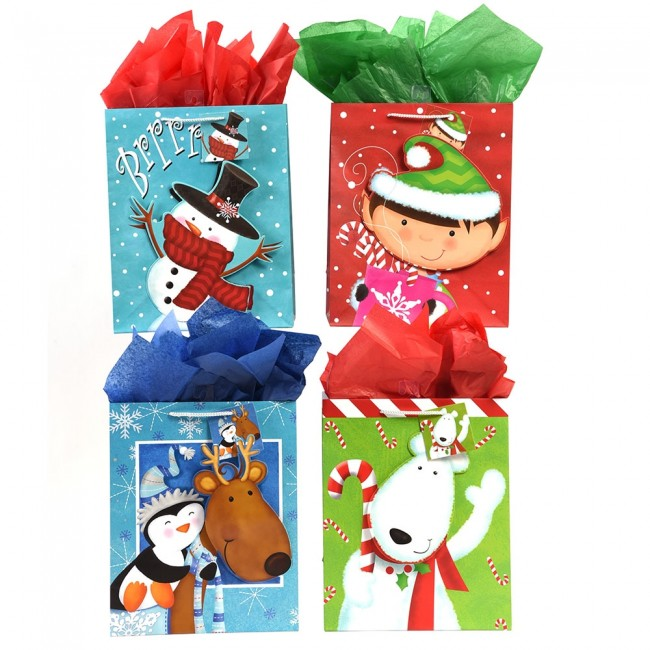 Christmas Gift Bags.Large Happy Friends Pop Layer Christmas Gift Bags By Flomo