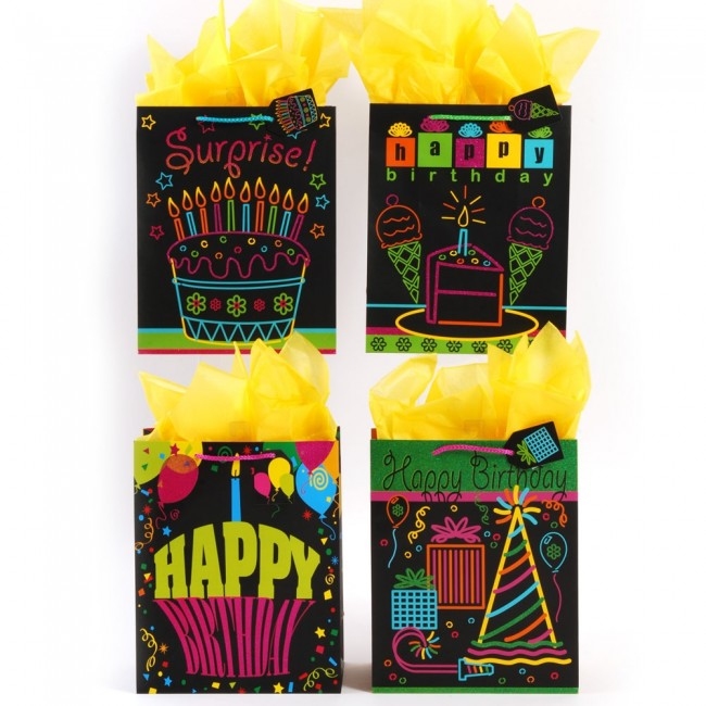 FLOMO Large Neon Party Birthday Gift Bags