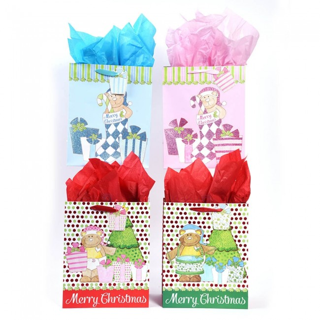 large babys first christmas glitter gift bags by flomo
