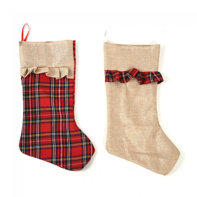 Burlap Christmas Stockings.Plaid Burlap Christmas Stockings By Holiday Essentials