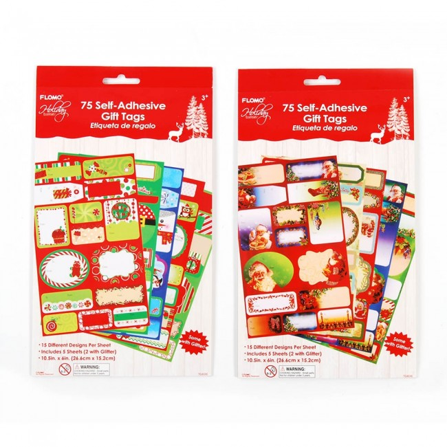 flomo christmas sticker gift tag value pack
