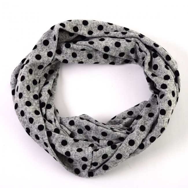 cfd2ba7cd6b8 Grey Playful Polka Dot Infinity Scarf by Tickled Pink. Zoom