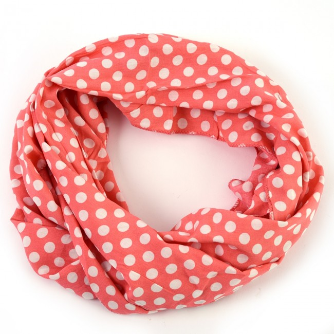 fad133c7ada43 Coral Pink Cheerful Polka Dot Infinity Scarf by Tickled Pink