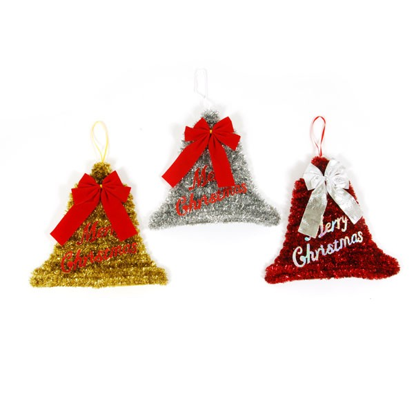 tinsel christmas bell decoration