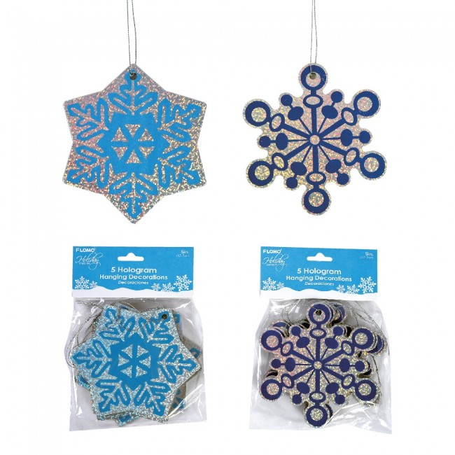Holographic Hanging Snowflake Decorations By Holiday Essentials