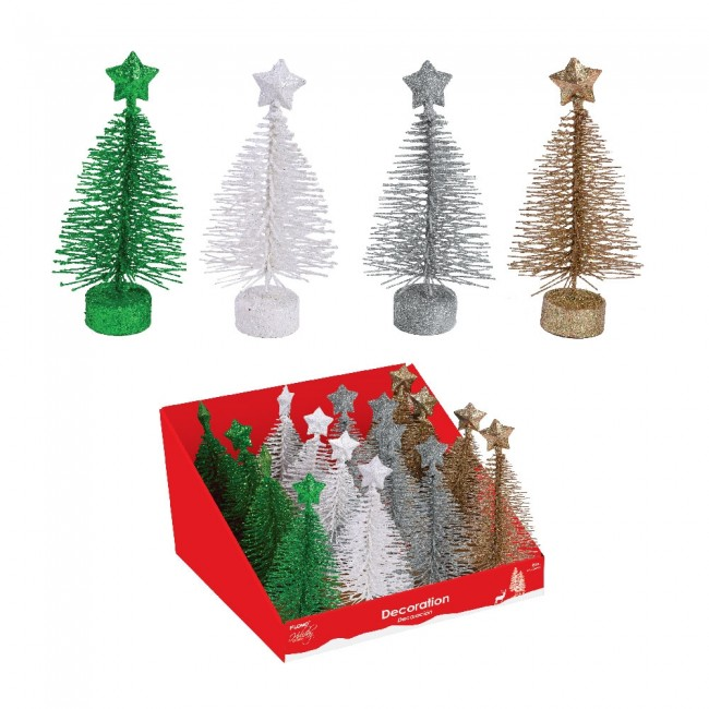 glitter metal wire mini christmas tree decorations by holiday essentials