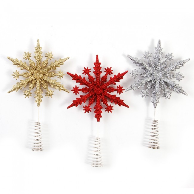 Christmas Tree Toppers.Glitter Snowflake Christmas Tree Toppers By Holiday Essentials