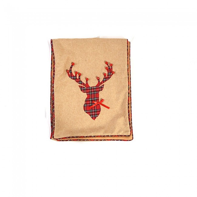 plaid reindeer christmas table runner by holiday essentials