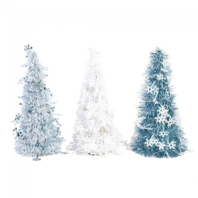 mini tinsel christmas tree with snowflake icons by holiday essentials - Tinsel Christmas Decorations