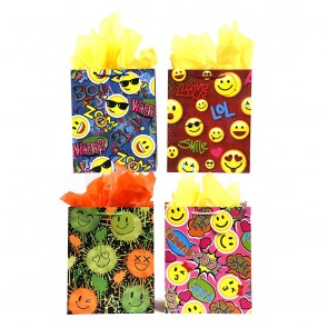"FLOMO Large ""Happy Wish Faces"" Smiley Face Gift Bags"