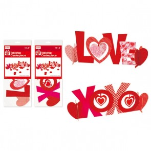 FLOMO Valentine's Day 'LOVE XOXO' Patterned Tabletop Centerpieces