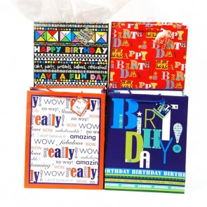 "FLOMO Large ""Typographic Birthday"" Gift Bags"