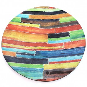 "16"" Prism Lines Round Murano Glass Plate"