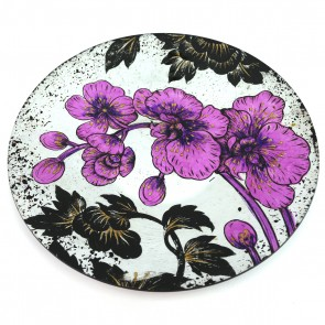"16"" Orchid Round Murano Glass Plate"