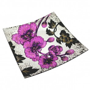 "14"" Orchid Square Murano Glass Plate"