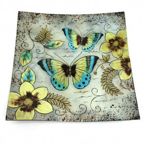 "14"" Great Blue Butterfly Square Murano Glass Plate"