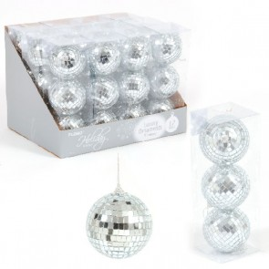 Large Silver Mirror Ball Ornaments