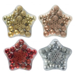 Christmas Bauble Ball and Snowflake 24pc Ornament Set in Star Box by Holiday Essentials