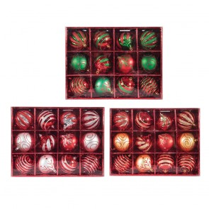 Patterned Christmas Ornament 12pc Set in Box by Holiday Essentials