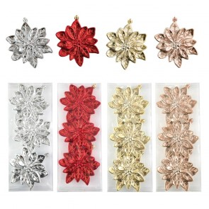 Metallic Poinsettia Christmas Ornaments by Holiday Essentials