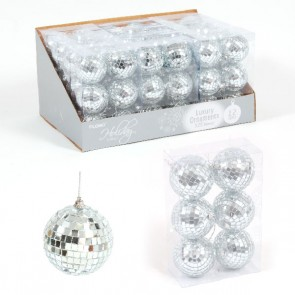 Silver Mirror Ball Ornaments - 6 Pack