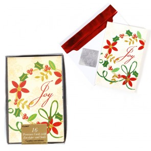 FLOMO Glitter Joy and Holly Christmas Cards - 16ct