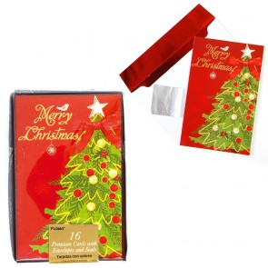 FLOMO Metallic Hot Stamp Christmas Tree Christmas Cards - 16ct