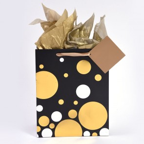 "iCOLORiS Medio ""Dots Gold Silver Hot Stamp"" Medium Luxury Gift Bags"