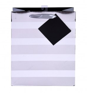 "iCOLORiS Grande ""Big Stripe Silver Hot Stamp"" Large Luxury Gift Bags"