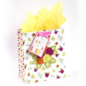 "Grande ""Plant Yourself Where You Bloom"" Flowers Pop Layer Glitter Large Luxury Gift Bags by iCOLORiS"