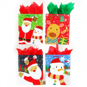 Square Large Jolly Faces Gift Bags - Assorted