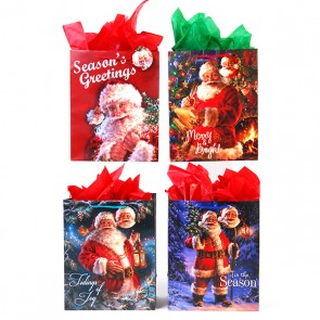Classic Tall Santa's Good List Gift Bags - Assorted