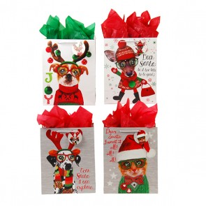 Large Furry Christmas Pals Gift Bags - Assorted