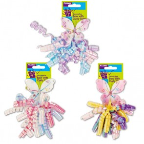"""3.25"""" Wired Butterfly Bow With Iridescent Curly Swirl"""