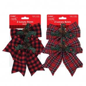 Mini Plaid Christmas Bows by Holiday Essentials