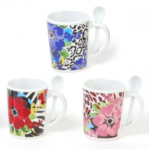 FLOMO Floral Mug with Spoon