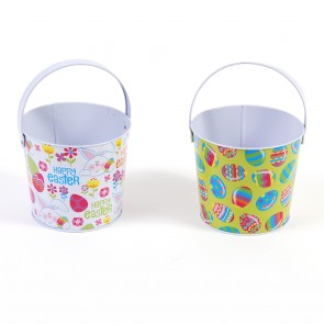 Easter Round Tin Buckets - Assorted