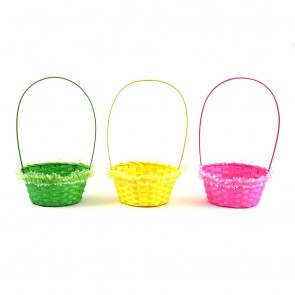 Easter Bamboo Basket with Sheer Trim by FLOMO