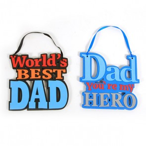 "Father's Day Hanging Decoration with Ribbon 8.8"" x 8.5"""
