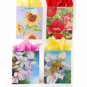 Large Watercolor Garden Gift Bags - Assorted