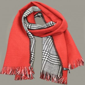 Plaid and Red Reversible Acrylic Scarf