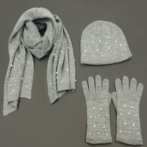 3 Piece Pearl Winter Set - Grey