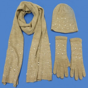 3 Piece Pearl Winter Set - Camel