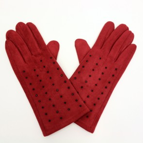 Charlie Paige Touch Screen Polyester Knitted Red Gloves