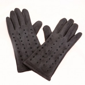 Charlie Paige Touch Screen Polyester Knitted Grey Gloves