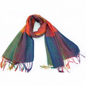 Giftcraft Vibrant Leopard Polyester Womens Scarf - Rainbow/Orange