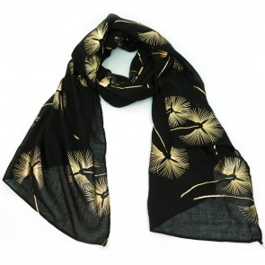 Giftcraft Polyester Scarf With Gold Design - Black