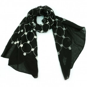 Giftcraft Circle Embroidery Polyester Womens Scarf - Black/Cream