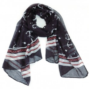 Giftcraft Nautical Polyester Womens Scarf - Red/Grey/Navy